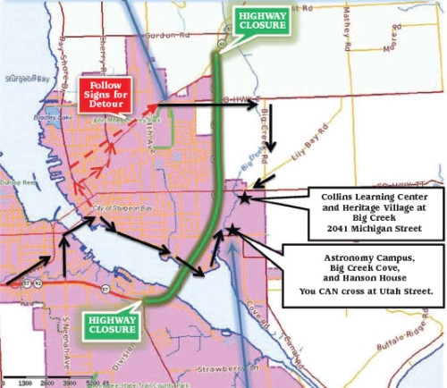 Sturgeon Bay Highway Detour to Crossroads